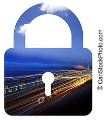 Securing data - Photo illustration of securing cloud...