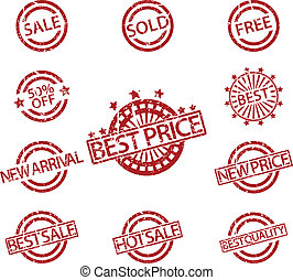 Set of Rubber Stamps sale - Vector Illustration of Set of...