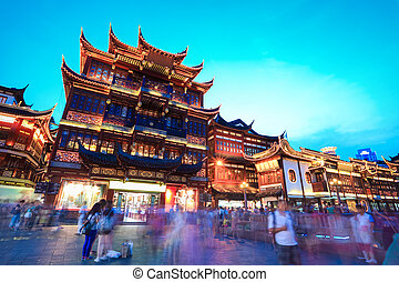 shanghai yuyuan garden at dusk - traditional shopping area...