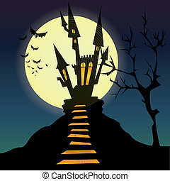 Castle - abstract dark castle silhouette on special...