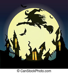 Witch - abstract witch silhouette on special halloween...