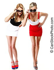 dos, Sexy, mujeres, Llevando, mini, faldas