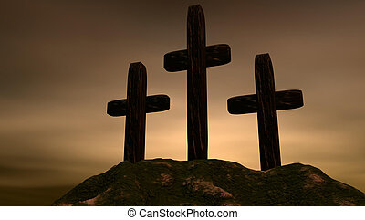 Threee Crosses - Three crosses on a mountaintop with a...