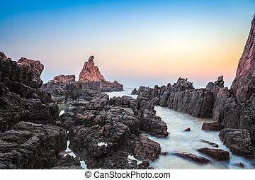 reef rock in sunrise