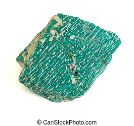 Turquoise stone - On a white background a raw stone of...