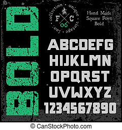 Handmade retro font. Bold type. Grunge textures placed in...