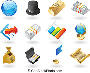 Isometric-style icons for global finance