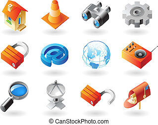 Isometric-style icons for website - High detailed realistic...