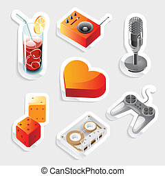 Sticker icon set for leisure and entertainment. Vector...