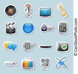 Sticker icons for media - Sticker button set Icons for media...