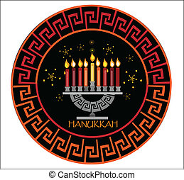 hanukkah,holiday background - menorah on the black...