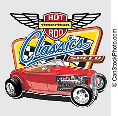 Classic American Speed car - hot rod vintage car vector for...