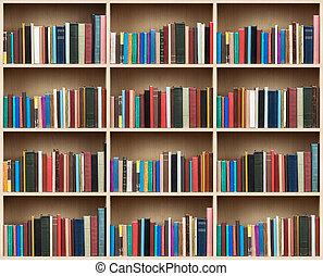 Books on a wooden shelfs.