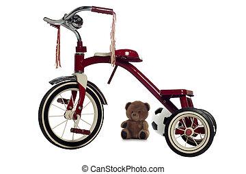 criança, triciclo