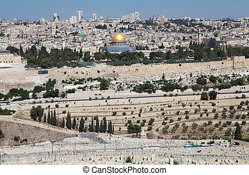 Jerusalem old town cityview with the view of the Dome of the...