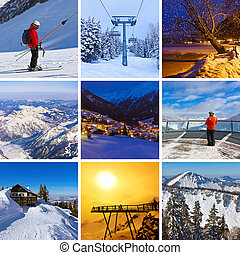 Collage of mountains ski images - nature and sport...