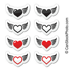 Heart with wings icons set - Vector red and black labels set...