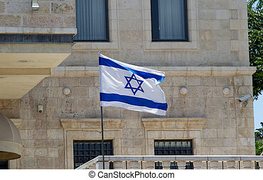 Israeli flag is waving in Jerusalem, Israel