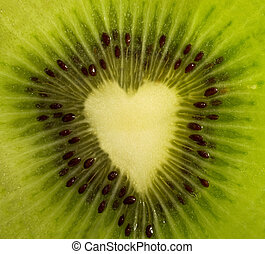 Fruit cut - kiwi forming a heart - The juicy fruit cut -...