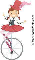 Unicycle Circus Girl - Illustration of a Female Circus...