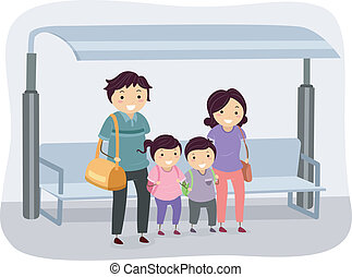 Stickman Bus Stop - Illustration of a Stickman Family...