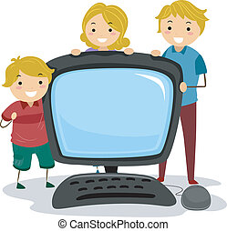 Stickman Family Computer - Illustration of a Stickman Family...