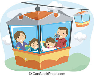 Stickman Family Cable Car - Illustration of a Stickman...
