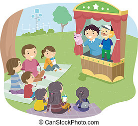 Stickman Family Puppet Show - Illustration of a Stickman...