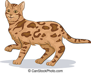 Bengal Cat - Illustration of a Cute Bengal Cat with One Paw...