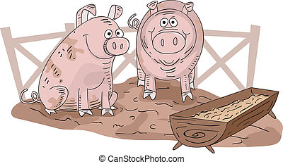 Pig Pen - Illustration of a Pair of Muddy Pigs Inside a...