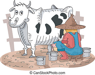 Cow Milking - Illustration of a Farmer Milking His Cow