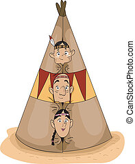 Native American Family - Illustration of a Native American...