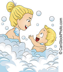 Bubble Bath Time - Illustration of a Caucasian Mother Having...
