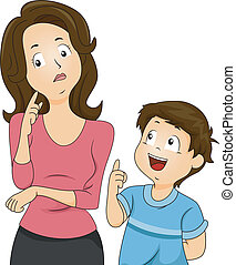 Mom and Son Questions - Illustration of a Confused Mom...