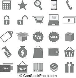 Shopping icons on white background, stock vector