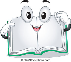 Open Book - Mascot Illustration Featuring a Book with Pages...
