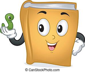Bookworm - Mascot Illustration Featuring a Book Holding a...