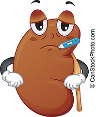 Kidney Mascot - Mascot Illustration Featuring a Sick Kidney...