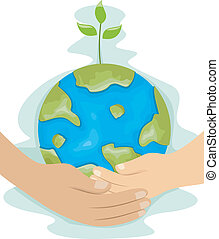Teaching Kids Environmental Protection - Illustration of a...