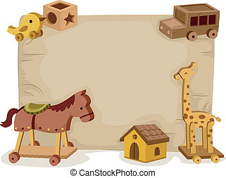 Wooden Toys Background - Background Illustration Featuring...
