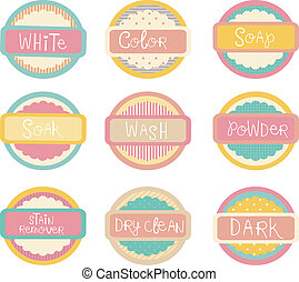 Laundry Labels - Illustration Featuring Ready to Print...