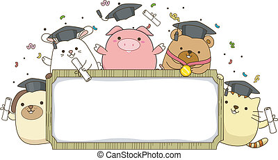 Animal Graduate Banner - Banner Illustration Featuring...
