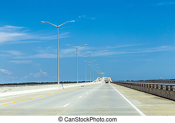 empty bridge at Bay St. Louis in Mississippi in the midday...