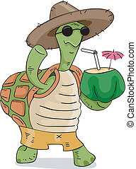 Turtle Coconut Drink - Illustration of a Turtle Wearing a...