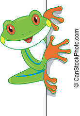 Tree Frog Board - Illustration of a Cute Tree Frog Looking...