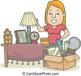 Decluttering - Illustration of a Woman Standing Beside a Box...