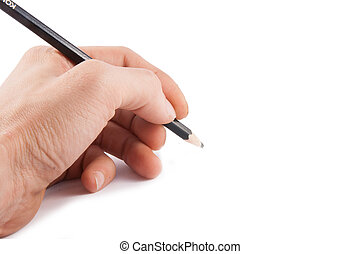 Black pen in a left hand on white background