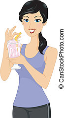 Protein Shake Girl - Illustration of a Sporty Looking Girl...