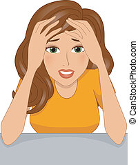 Stressed Girl - Illustration of a Stressed Girl Clutching...
