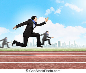 Running businessman - Funny image of running businessman at...